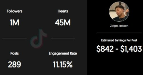 Zelgin Jackson estimated TikTok earning