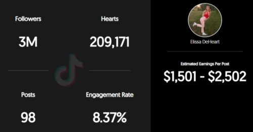 Elissa Deheart's estimated TikTok earning