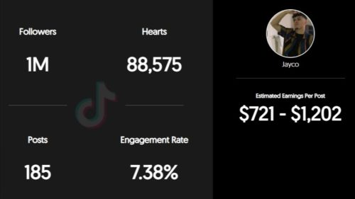 JaycoSet estimated TikTok earning