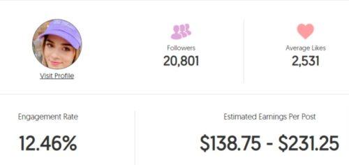 Michaela's estimated Instagram earning