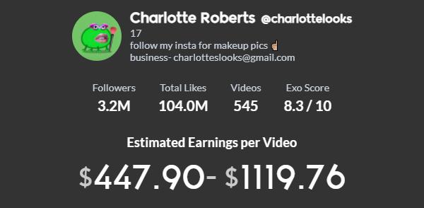 Charlotte Roberts TikTok earning