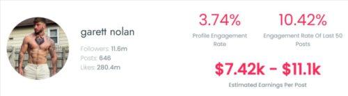 Garret's estimated TikTok earning