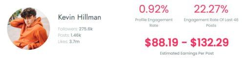 Kevin's estimated TikTok earning