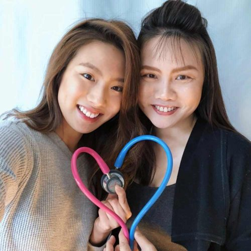 Miki Rai with her mother