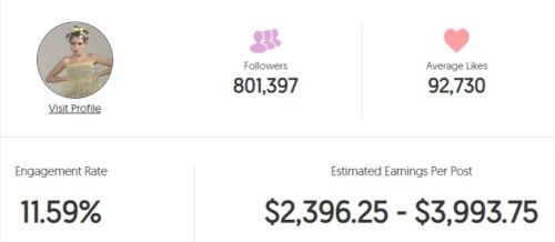 Rina's estimated Instagram earning