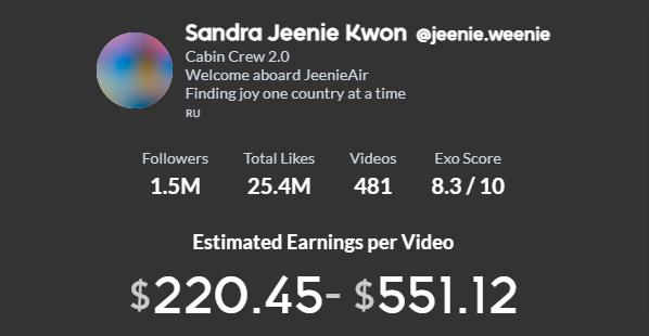 Sandra Jeenie Kwon TikTok earning