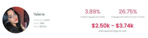 Valerie Le Pelch's TikTok earnings per sponsored post