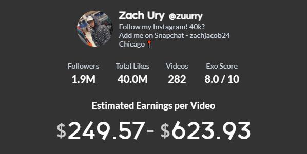 Zach Ury TikTok earning