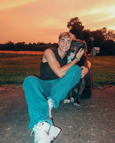 Carew Ellington with his dog