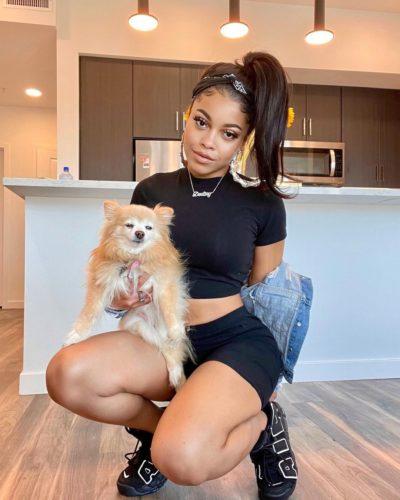 Destiny Jones with a dog