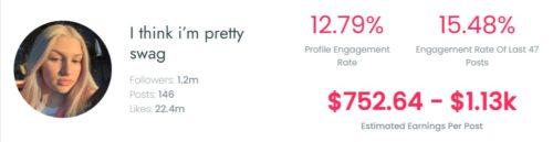 Lexi's estimated TIkTok earning