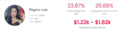 Regin's estimated TikTok earning