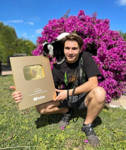 Jacob with his golden play button