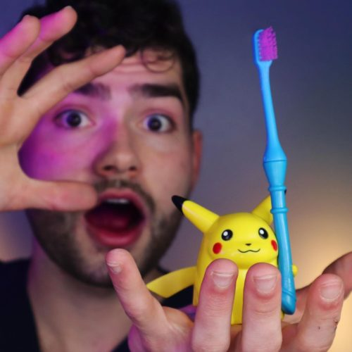 Anthony showing his pikachu tooth brush