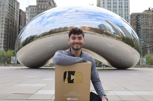 Anthony with his golden play button