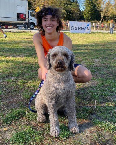 Tyler Koy with a pet dog