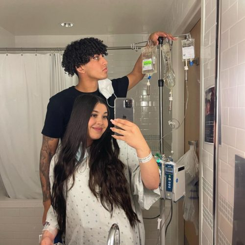 Anthony Vargas with his wife before his baby arrives