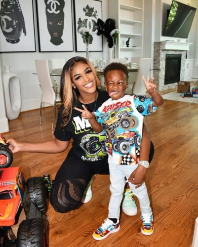 Antoniqua Brown with her son