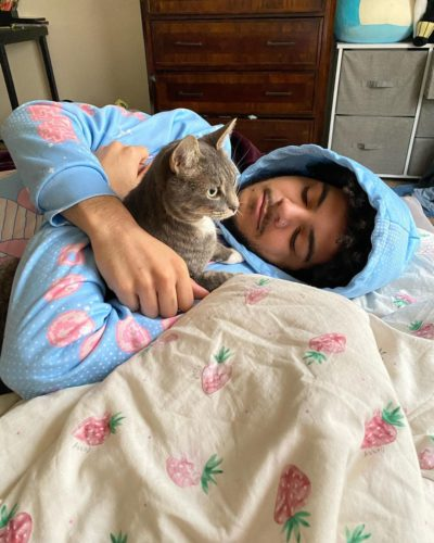 Chris Udalla with his cat
