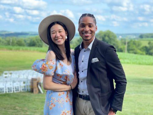 Glory Kim with her husband