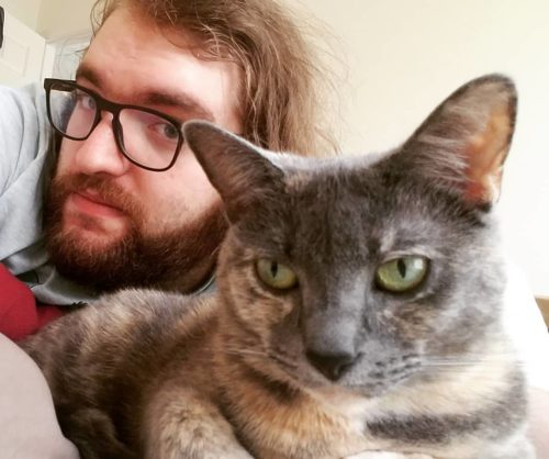 Quinton Kyle Hoover with his cat