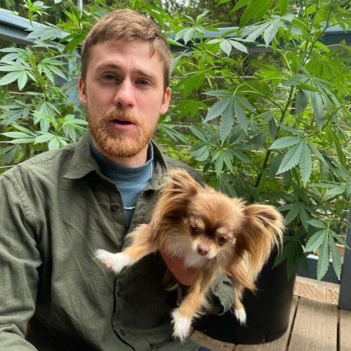 Sven Gamsky with his puppy