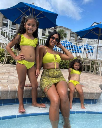 Maybelline Perez with her daughters